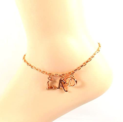 157a27e90 Image Unavailable. Image not available for. Color  Rose Gold Initial Anklet  Monogram Ankle Bracelet Personalized ...
