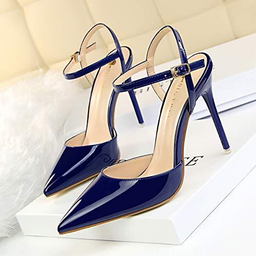 Yukun zapatos de tacón alto Club Nocturno Fino con 10 Cm De Tacones Altos Palabra Salvaje De Otoño con Sandalias Acentuado Femenino, 39, Púrpura Claro Blue