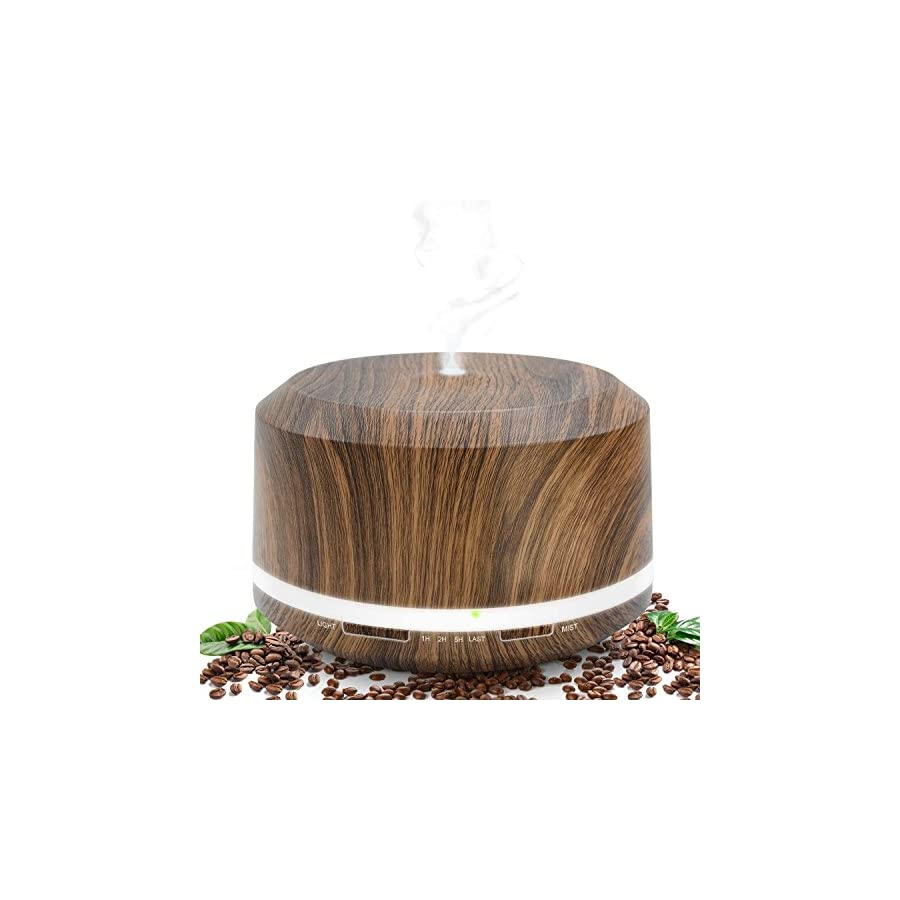 Essential Oil Diffuser 450ml, Dark Wood Grain Aromatherapy Diffusers and Air Humidifiers Set for Large Room LUSCREAL Gift Idea