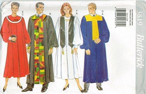 Butterick 3819 Sewing Pattern Misses Mens Choir Church Gr...