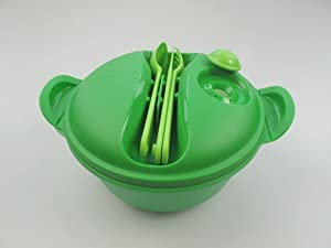 Tupperware Hot Food On the Go Container 6.25 Cup with Cutlery Green