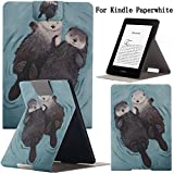 Newshine(TM) Case For Kindle Paperwhite,Ultra Slim PU Leather Smart Case Build in Magnetic with [Auto Sleep/Wake Function] for Amazon New Kindle Paperwhite 2015 2013 2012 6'' E-reader (The Twins Cat)