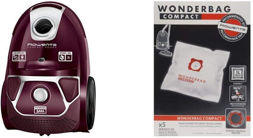 Rowenta Compact Power Morado RO3969EA - Aspirador trineo con bolsa de alta filtración y filtro permanente gran eficiencia + Wonderbag Compact WB305120 - Pack de 5 bolsas para aspiradora: Amazon.es: Hogar