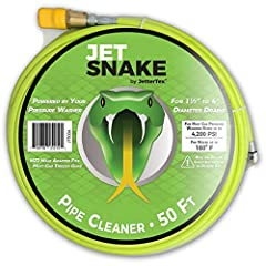 "The JetSnake™ professional grade sewer jetter helps you thoroughly clean more sizes of drains, from 1-1/2"" ID to 4"" ID. Helps remove stubborn clogs from main sewer drains, indoor lateral lines, landscaping drains, outdoor drain tiles and sept..."