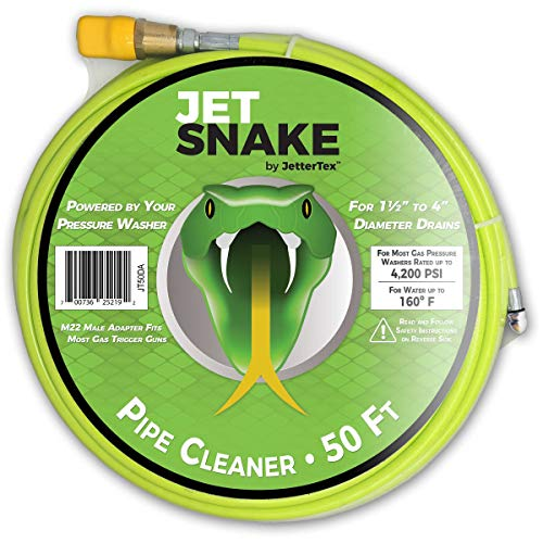(JetSnake Sewer Jetter - 50 FT Drain Cleaner for Your Gas Pressure Washer)