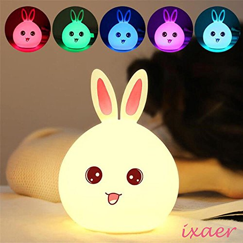 ixaer New Style Rabbit LED Night Light Multicolor Silicone Touch Sensor For Children Bedside Lamp Control Bunny Nightlight, Creative Rabbit Pat Lamp Dream Bedroom Bedside Table Lamp. (Pink) by ixaer