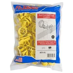 Fi-Shock IRTY-FS Poly Tape Round Post Insulator, Yellow