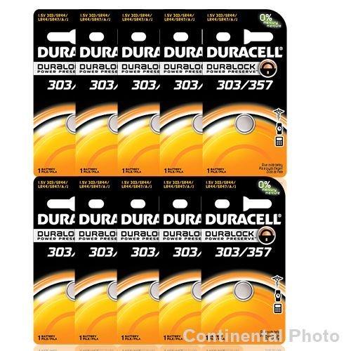 10 Duracell 357 303 A76 PX76 SR44W/SW LR44 AG13 Silver Oxide Battery