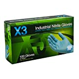 Ammex X346100 Xtreme X3 Powder Free Nitrile Industrial Gloves, 240mm Length, Beaded Cuff, Large, Pack of 100 (Blue)