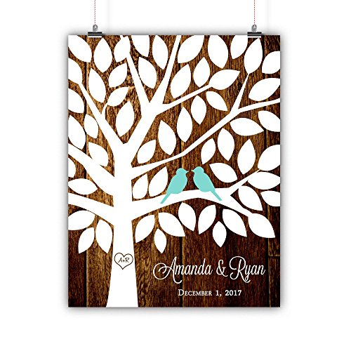Personalized Wedding Tree Guest book Alternative Customized Poster, Print, Framed or Canvas, Wood Texture Background 50 Signatures