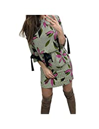 HHmei Women's Long Sleeve Bodycon Dress, O-Neck Evening Party Short Mini Dress