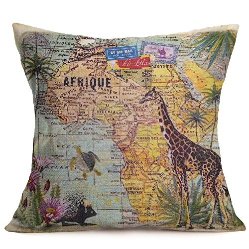 Fukeen African Throw Pillow Covers Colorful Africa Map with Tropical Palm Tree, Giraffe, Ocean Animal Decorative Vintage Pillow Cases Cushion Covers Cotton Linen Square Home Office Decor 18