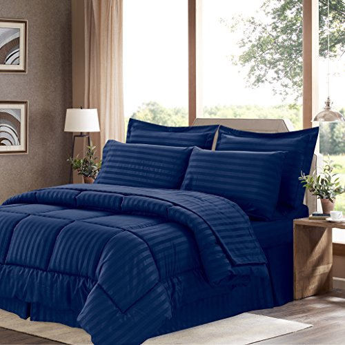 Sweet Home Collection 8 Piece Comforter Set Bag with Dobby Stripe Design, Bed Fitted, 1 Flat Sheet, 2 Pillowcases, 2 Shams, King Navy