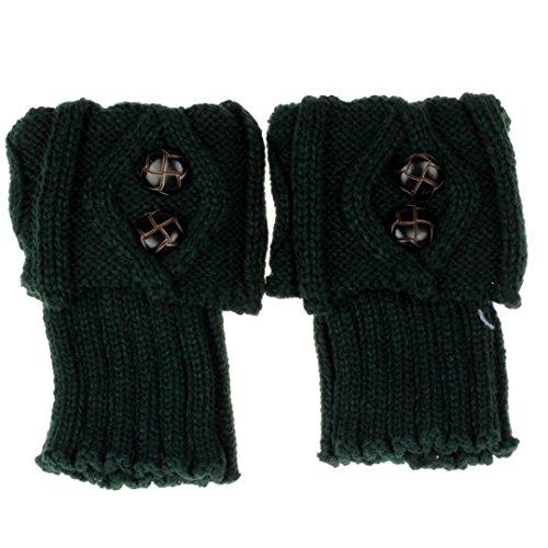 Topper Green - Winter Leg Warmer Crochet Knit Boot Socks Topper Cuff Green