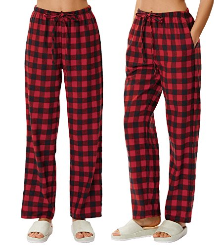 Pajama Trousers (Zexxxy Women Breathable Red Plaid Plus Size Pajama Pant Trousers)