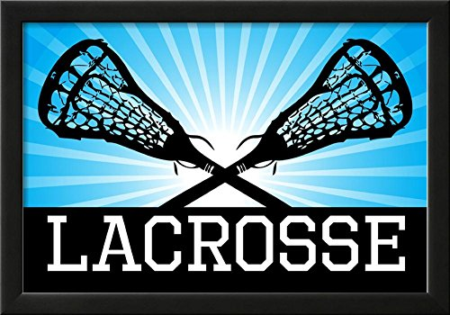 Lacrosse Blue Sports Poster Print Framed Poster 21 x 15in by Poster Revolution