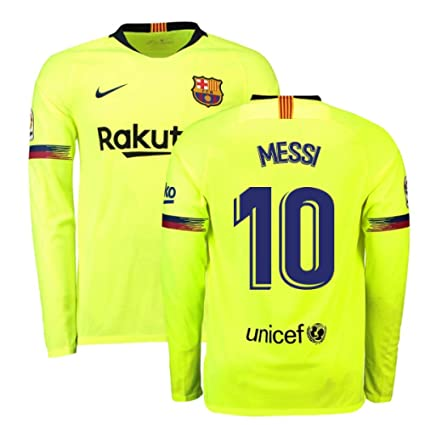58dc1e5b6e5 Amazon.com   2018-2019 Barcelona Away Nike Long Sleeve Football Soccer T-Shirt  Jersey (Lionel Messi 10)   Sports   Outdoors