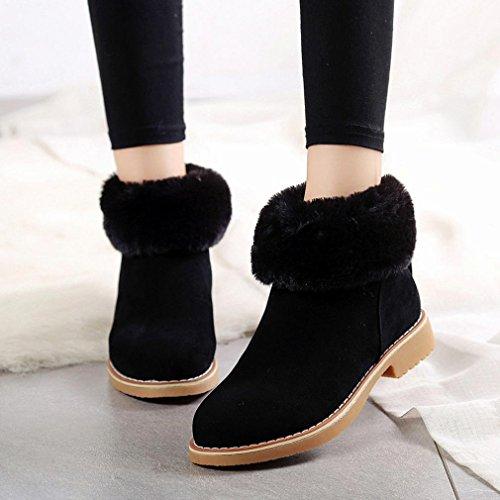 OVERMAL Damen Stiefeletten Stiefel Kunstleder Schnee Stiefeletten Frauen Schuhe Winterstiefel Mode Schuhe Schwarz