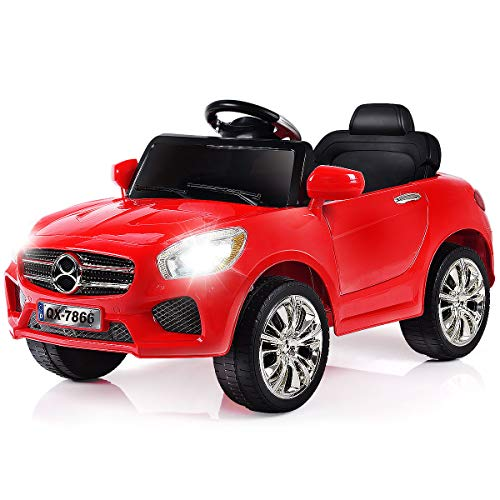 Speed 6 Convertible - Costzon Kids Ride On Car, 6V Battery Powered Rechargeable Ride On Vehicle, Parental Remote Control & Foot Pedal Manual Modes w/LED Headlights, Horn, MP3 Functions, High/Low Speed (Red)