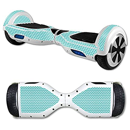 MightySkins Skin Compatible with Self Balancing Mini Scooter Hover Board - Turquoise Chevron | Protective, Durable, and Unique Vinyl Decal wrap Cover ...