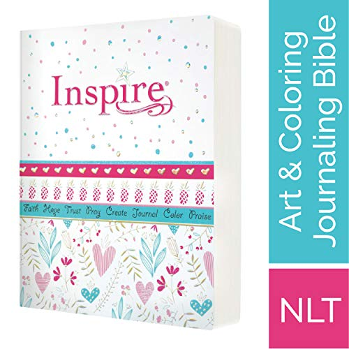 Tyndale NLT Inspire Bible for Girls (Hardcover LeatherLike, Metallic Blue): Journaling and Coloring Bible for Kids - Over 500 Scripture Illustrations to Color - Creative Bible Journal