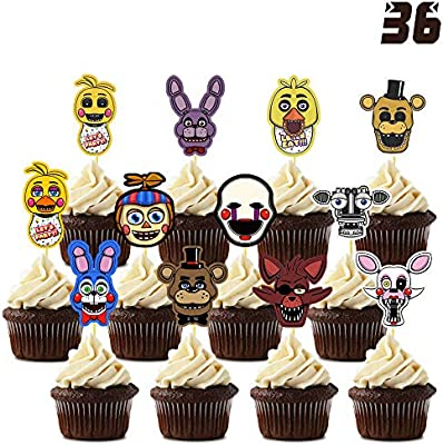 SET OF 12 X FIVE NIGHTS AT FREDDY/'S Cupcake Pick Decoration Topper Birthday