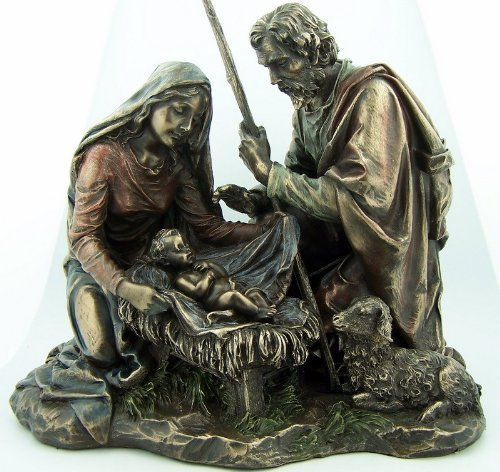 Bronze Nativity Set in Manger with Lamb Christmas Figure Statue by Religious Gifts
