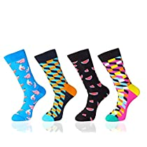 MYMYU 4 Pack Mens Funky Dress Socks Colorful Novelty Crazy Assorted Argyle Cool Patterns Casual Comfort Crew