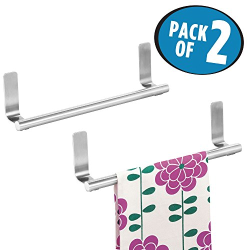 mDesign Self-Adhesive Towel Bar Holder for Bathroom or Kitchen - Pack of 2, Stainless Steel by mDesign