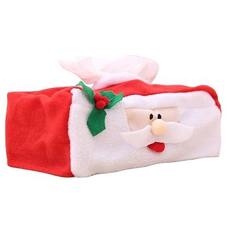 BESTOYARD Adornos Navideños Caja de Pañuelos para Mesa Coche en Forma de Papa Noel Decoracion de