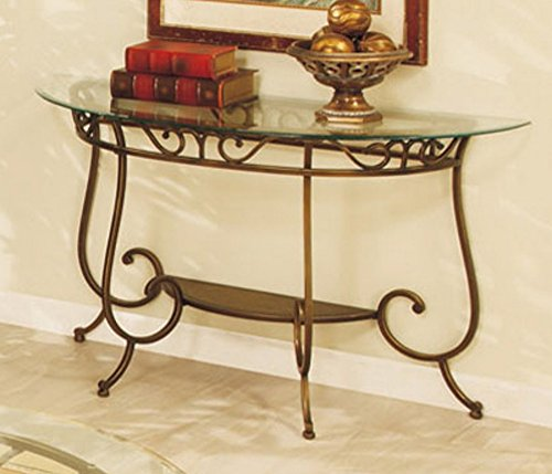 Sofa Table with Glass Top in Bronze Finish