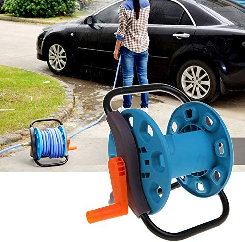 Garden Water Pipe Cart Bracket with Foldable Handle, Portable Floor Mounted Hose Storage Rack, for Water Pipe/Hose