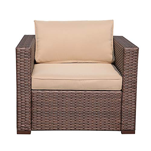 PATIORAMA Outdoor Patio Chairs All Weather Wicker Patio Chair, Beige