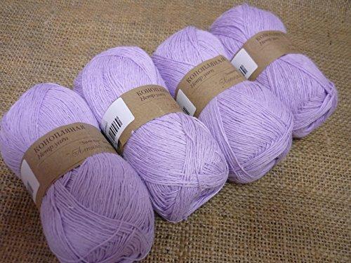 30% Hemp Yarn 70% Cotton Yarn Thread Crochet Lace Hand Knitting Yarn Craft Art Embroidery Lot of 4 skeins 200gr 1224yds Color Light Lilac 178