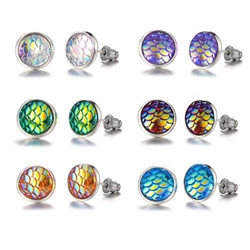 Bevan Fairy tale Mermaid Scales Earrings for kids Girls Women Hypoallergenic Nickel-free stud earrings set,