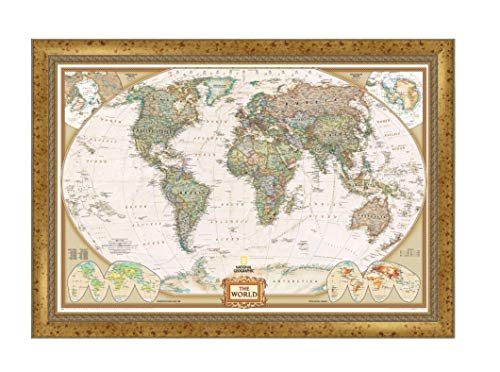 Renditions Gallery NATGEO-7138-2436N Executive National Geographic Travel Map with Push Pins, Wall Art for Living Room, Bedroom, Office, 28x40, Vintage Gold III ()