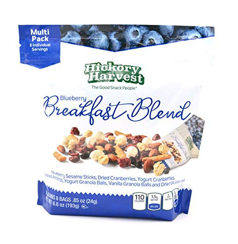 - Healthy Trail Mix Snack Packs, 1 Pack of 8 Bags (.85 oz) | Includes Nuts and Dried Fruit, Cranberries, Almonds, Yogurt | Energy Snack | Blueberry Breakfast Blend