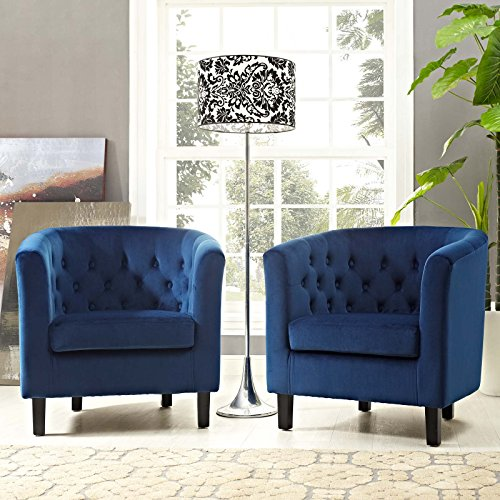 Modway Prospect Performance Velvet Accent Lounge Living Room Armchairs, Two, Navy