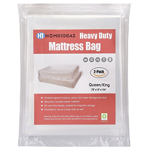 HOMEIDEAS 2-Pack Extra Thick 4 Mil Mattress Bag for Moving and Storage,Fits Queen/King Size