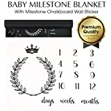 """Baby Monthly Milestone Blanket Bundle with Milestone Chalkboard Wall Sticker - Premium Ultra Soft 