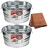 Behrens 17-Gallon Round Galvanized Steel Tub, 2-Pack with Cleaning Cloth