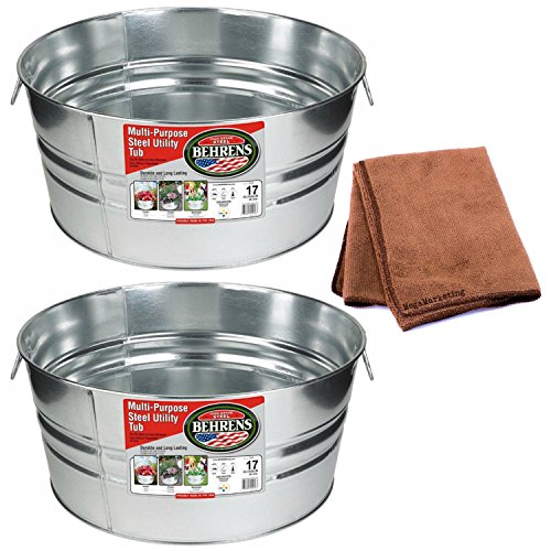 Behrens 17-Gallon Round Galvanized Steel Tub, 2-Pack with Cleaning Cloth by Behrens
