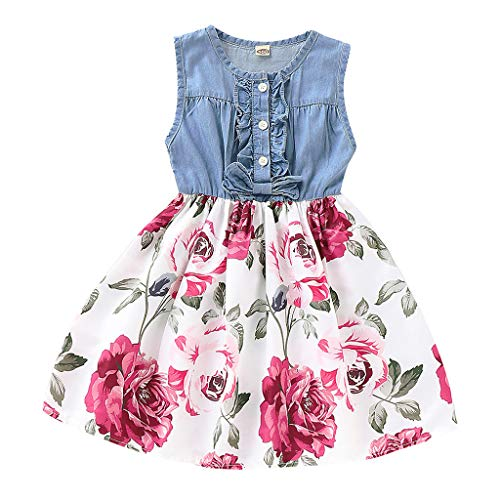 Diufon 2019 New Baby Girls Denim Sleeveless Tops+Vintage Floral Swing Skirt Toddler Girls Summer Fashion Clothes Sets (4-5 Years, Dress 002)