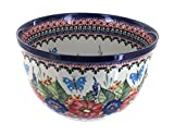 Polish Pottery Floral Butterfly Medium Mixing Bowl
