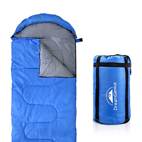 DreamGenius Sleeping Bag Envelope Lightweight Comfort with Compression Sack for 4 Season Camping]()