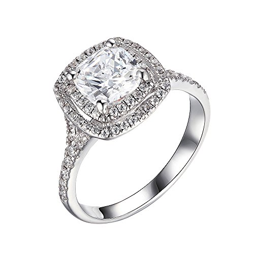 Silver Double Cushion (Lourve Rhodium Plated Sterling Silver Engagement Ring Cushion Cut Cubic Zirconia Cushion Double Halo (7, cubic-zirconia))