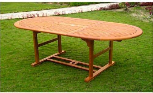 Amicasa. Mesa de jardín Extensible de Madera 150/200 x 100 cm ...