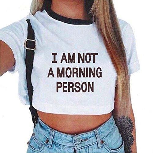 Stampato Crop Baijiaye Cute Estiva Motivo Maglietta Corte Cool Donna Shirt Modello Sottile Casual Tops Girocollo Maniche Primavera 11 T 0wq80r7