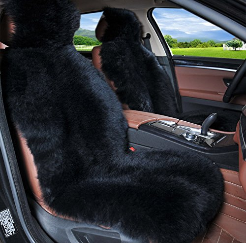 Amazon.com: OFLBA 1pcs Black Faux Sheepskin Car Seat Cover Long Wool