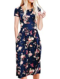 Womens Dresses Summer Floral Short Sleeve Elastic Waist Vintage Retro Midi Dress with Pockets